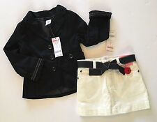 NWT Gymboree Poppy Love 3 3T Ivory Skirt & XS 3-4 Black Blazer Jacket