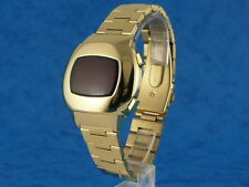 GOLD 70s Vintage Style LED LCD DIGITAL Rare Retro Mens Watch 12 & 24 hour p3