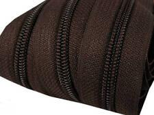 5m Endlos-Reißverschluss 5mm mit 10 Zipper dunkelbraun Versandkostenfrei