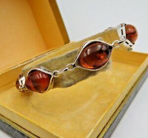 Hübsches 925 Silber Bernstein Armband (5ee)