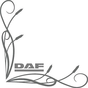 DAF style truck cab window stickers wording (pair) fine bullrush scroll