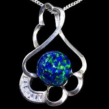 Alducchi Midnight Blue lab Opal CZ 925 Silver Pendant  Necklace
