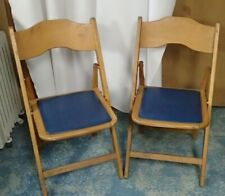 2 Vintage Solid Wood Wooden Folding Chairs Wood Seats Pair Antique