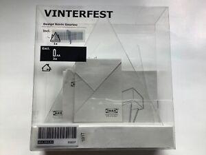 New Ikea VINTERFEST LED Light Napkin Holder Battery Operated White, Clear