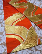 JAPANESE KIMONO   VINTAGE FUKURO OBI   GOLD WAVE ORANGE