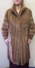 Vintage Genuine Mid Brown European Mink Fur long coat M UK 10/12 Euro 38/40