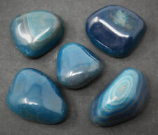 5 x Teal Agate Tumbled Stones (Polished Crystal Healing Tumble Gemstone Reiki)