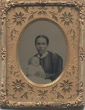 POSTMORTEM TINTYPE OF MOTHER AND BABY IN ORIGINAL GOLD FRAME -WATERVILLE, MAINE