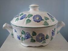Herend Village Pottery Terrine mit Deckel Schüssel blaue Blumen Hungary Ungarn