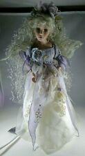 "Porcelain Fairy Doll Lamp Nightlight, White Hair, 17"" Tall"