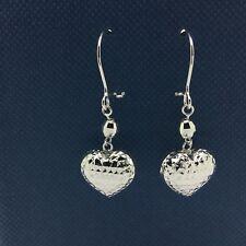 18k White Gold Leverback Earrings with Dangling Diamond Cut Heart