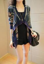 Women's Irregular Knit Sweater Cardigan Blue Multicolour ONLINE ONE SIZE