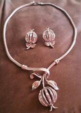 Trifari Philippe Forbidden Fruits Rhinestone Silver Apple Necklace Earrings Set