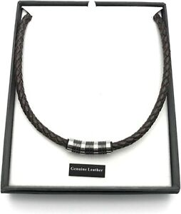 Men's Brown Leather & Stainless Steel Necklace