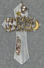 decorative wall cross, love you to the moon and back, wooden, handmade,