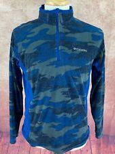 Columbia 1/2 Zip Fleece Pullover Jacket Blue Camo Camouflage Men's Medium