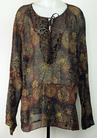 Venezia Sheer Rayon Maroon Floral Boho Tie-Neck L/S Tunic Blouse Shirt Top 18/20