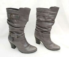 """RUSSELL & BROMLEY GREY LEATHER PULL ON SLOUCH BOOTS 3"""" HEEL EU36 UK3 FREE POST!!"""