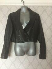 Genel Black Leather Bolero Style Jacket. Size 10.