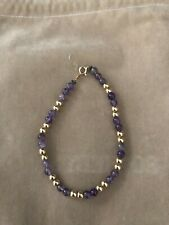 Amethyst and 14K Yellow Gold Bead Bracelet, spring ring clasp