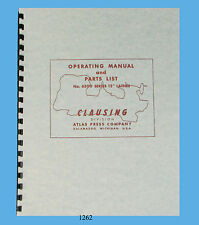 """Clausing 6300 Series 12"""" Lathe Operating and Parts List Manual *1262"""