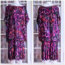 Women Neiman Marcus Vintage Pure Silk Colorful Sequined Dress M