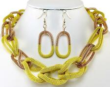 Yellow Gold Metal Mesh Rings Earrings Necklace Jewelry Set Chunky