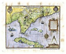 """Florida Floridae Americae Provinciae 1564"" Lisa Middleton Enhanced Map"