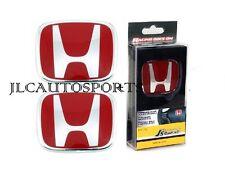 3PCS SET Red H Emblem  08-15 HONDA ACCORD SEDAN 4Dr Front + Rear+Steering Wheel