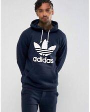 Adidas Original Men's TREFOIL NAVY Hoodie Fleece Pullover Jumper