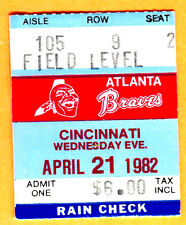 *4/21/82 TICKET STUB-BRAVES 13TH CONSEC. WIN FROM START OF SEASON-NL RECORD-REDS