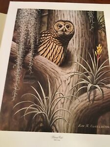 Don Eckelberry ( Barred Owl ) lithograph print series 2 plate# 1