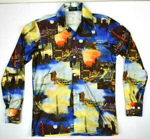 VTG USA Scenes Mod Disco Boogie Nights Polyester Hippy Shirt M 70s Cobain Grunge