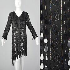 XS 1970s Frank Usher Beaded Silk Dress VTG Teardrop Paillettes Black Flame Edge