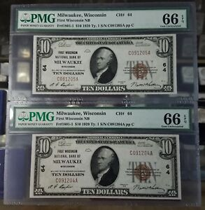 RARE! 2 Consecutive $10 1929 Milwaukee WI National Currency Bank Note PMG 66EPQ!