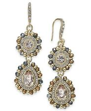 I.N.C. Medium Gold-Tone Multi-Stone Double Drop Earrings 1.5""
