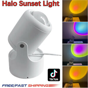 Halo Rainbow Sunset Projector Atmosphere Led Light Wall Decoration Colorful Lamp