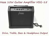 Haze 15W Guitar Amplifier w/Drive,Treble,Bass & Headphone Output. HSG-15 BK