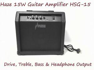 Haze 15W Guitar Amplifier w/Drive,Treble,Bass & Headphone Output. HSG-15 BK