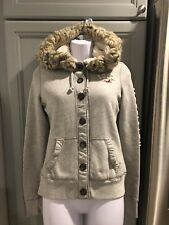 Hollister Women's Faux Fur Gray Sherpa Lined Buttoned Hoodie Jacket Size Small