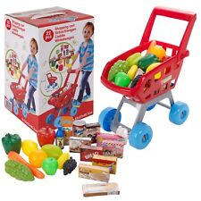 Kids 23 PCS Kitchen Shopping Trolley Cart Role Play Toy Food Utensils Set Holder