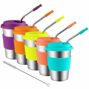 STAINLESS STEEL CUPS KIDS TODDLERS METAL DRINKING TUMBLERS SILICONE LIDS STRAWS
