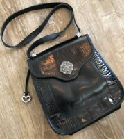 Brighton Black Leather Long Handle Shoulder Handbag A024883 Croc Embossed