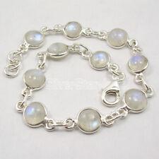 "925 Solid Silver Real Rainbow Moonstone Bracelet 8.1"" 7.8 Grams New Gemstone"