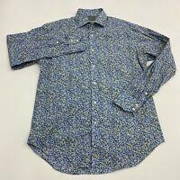 Thomas Dean Button Up Shirt Men's Size Medium Long Sleeve Blue Floral Cotton