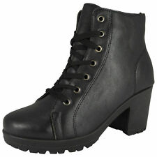 Women's Synthetic Lace Up Block High Heel (3-4.5 in.) Boots