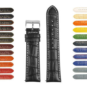 StrapsCo Mens Croc Crocodile Grain Embossed Padded Leather Watch Band Strap