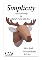 Deer Head Sewing Pattern x 3 Sizes Faux Taxidermy Reindeer Simplicity 1218