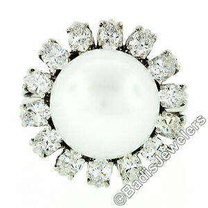 Vintage 18k White Gold 12.7mm South Sea Pearl 2.10ctw Marquise Diamond Halo Ring