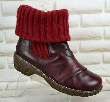 EL NATURALISTA Iggdrasil Burgundy Leather Womens Ankle Boots Size 5 UK 38 EU
